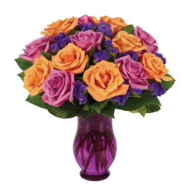 Purple Orange Rose Bouquet The Black Opal Florist